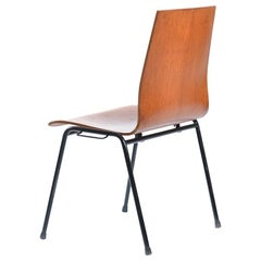Bended Teak Plywood Stacking Chairs on Metal Construction, Germany, 1960s