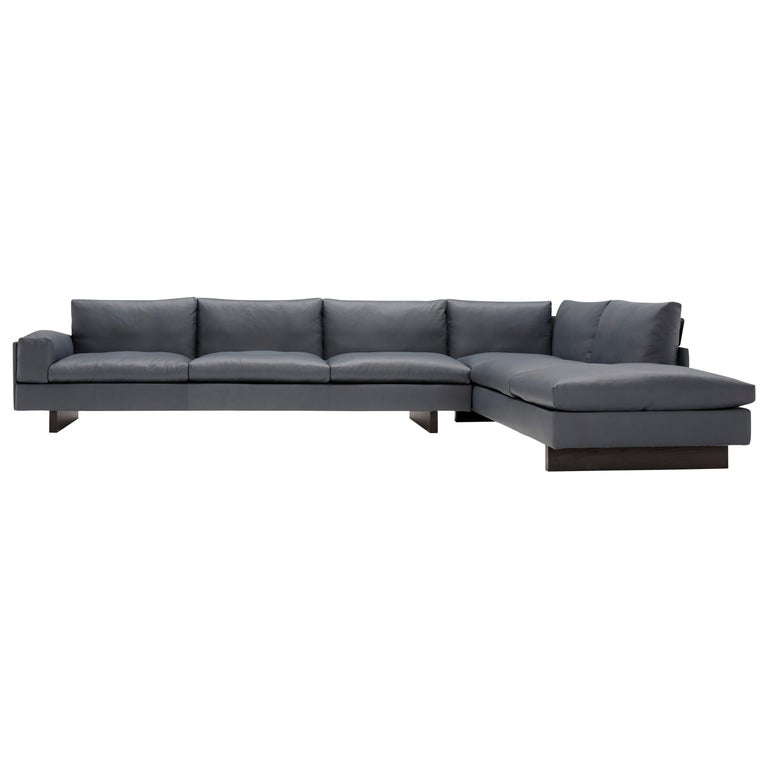 Amura 'Tau' Sectional Sofa in Grey Leather by Emanuel Gargano For Sale