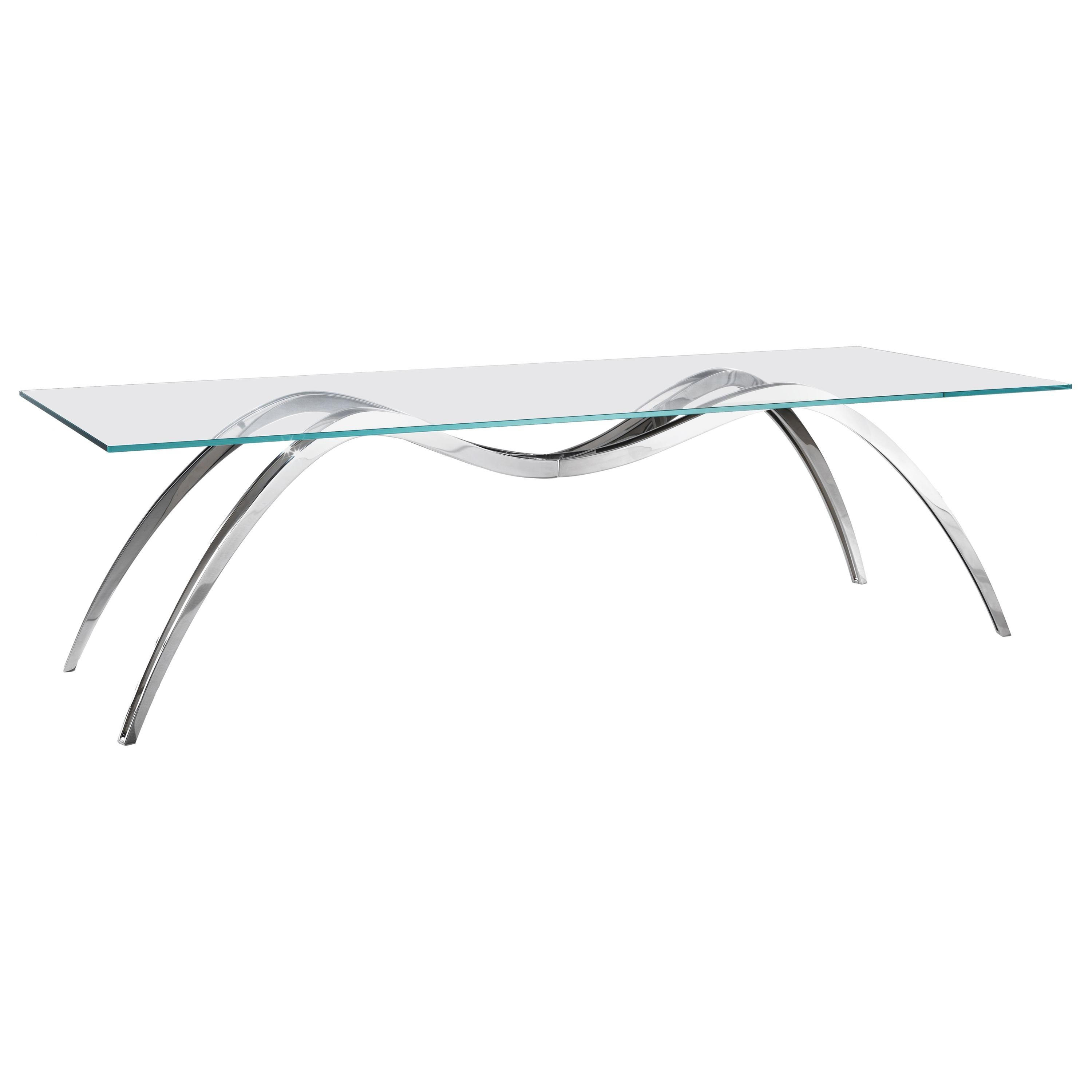 Dining Table Rectangular Glass Crystal Steel Italian Contemporary Design