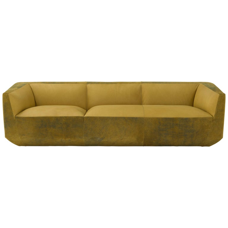 Amura 'Panis' Four-Seat Leather Sofa by Emanuel Gargano & Anton Cristell For Sale