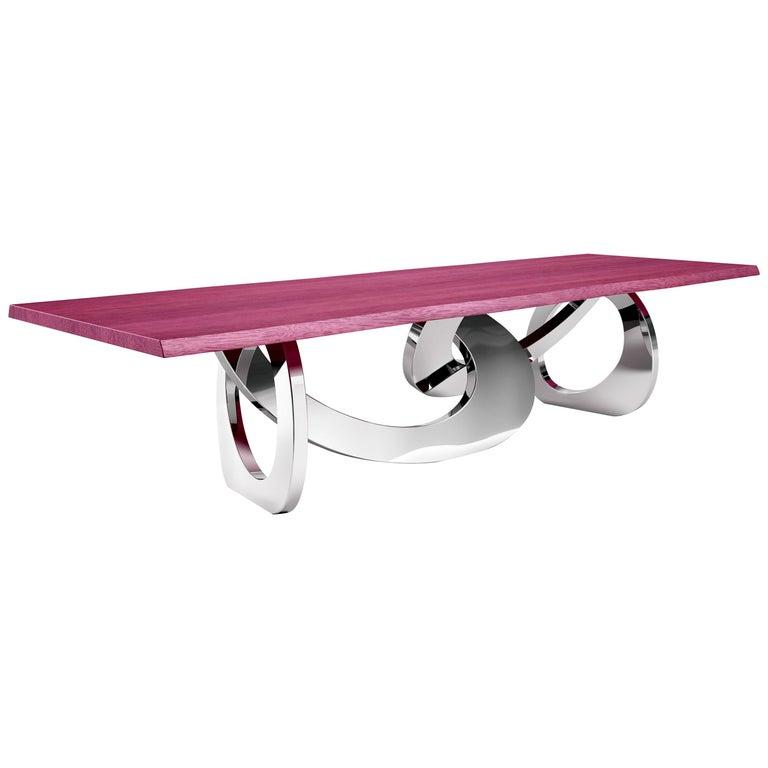Dining Table Rectangular Steel Amaranth Wood Purple Italian Contemporary Design  For Sale