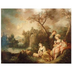 Rococo Society at a Pond, France, Late 18th Century