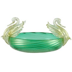 Seguso Vetri d'Arte Murano Green Gold Flecks Italian Art Glass Double Swan Bowl