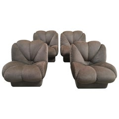 Mid-Century Modern Italian Set of Four Armchairs with Original Upholstery, 1970s