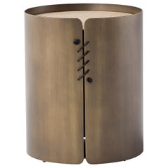 Amura 'Setacci' Small Coffee Table with Dark Wood Frame and Metal Top