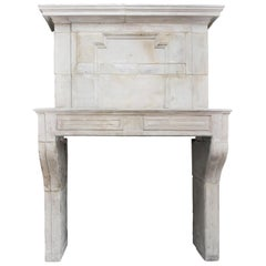 Antique French Mantelpiece with Trumeau, 18th Century, French Limestone