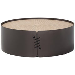 Amura 'Setacci' Coffee Table with Metal Frame and Wood Top