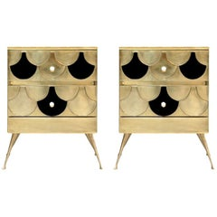 In the Style of Mid-century Modern Solid Wood and Brass Italian Commodes