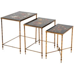 Maison Baguès, Nested Tables in Flowered Black Lacquer, 1950s
