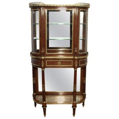 French Mahogany Bow Ended Glazed Vitrine Attributed to Paul Sormani