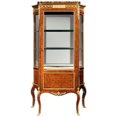Exceptional Kingwood 19th Century Parquetry Concave Shaped Vitrine