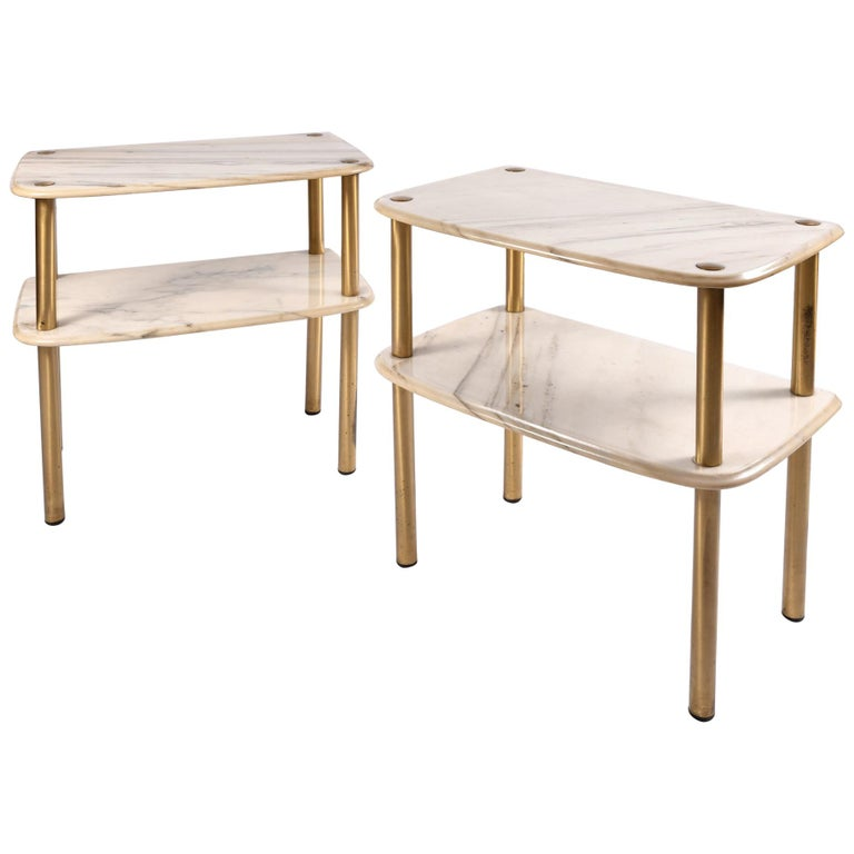 Pair of 1950s Italian Marble-Topped Side Tables For Sale