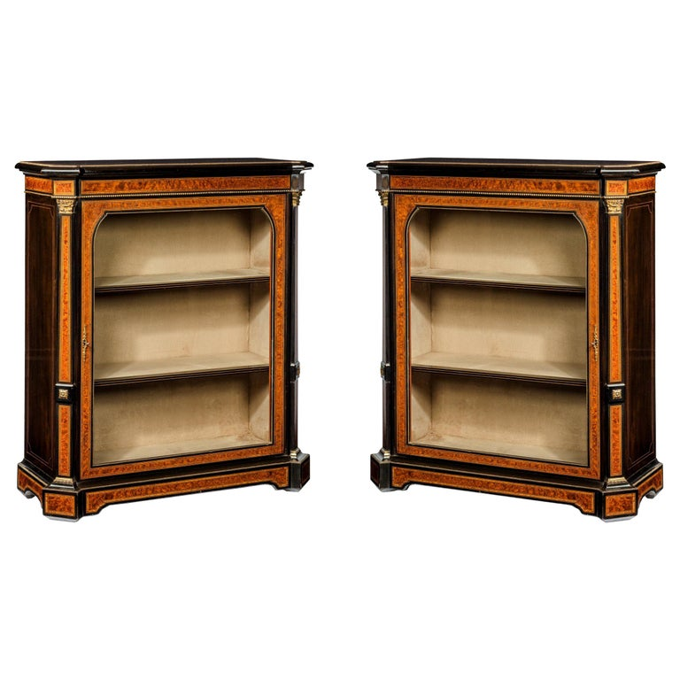 Fine Pair of 19th Century Antique Pier Cabinets For Sale