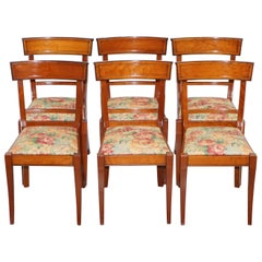 Set of 6 Grange France Solid Cherry Wood Dining Chairs Floral Upholstery