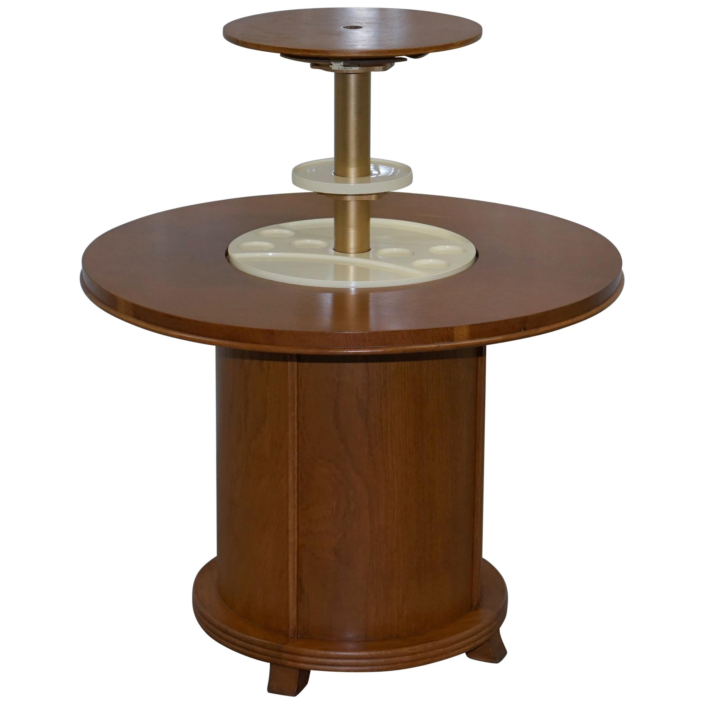 Rare 1930s Walnut Cocktail Table Cabinet With Rising Drinks Decanter Holder
