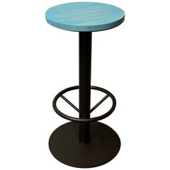 New Industrial Wrought Iron Shop Stool with Turquoise Wood Seat