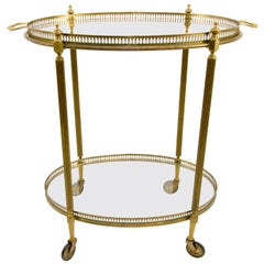 Oval French Bar Cart with Serving Tray Attributed to Maison Baguès