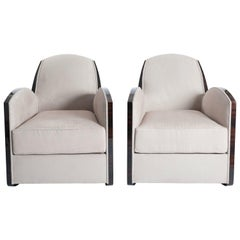 Pair of French Art Deco Macassar Armchairs in the Style of Jules Leleu