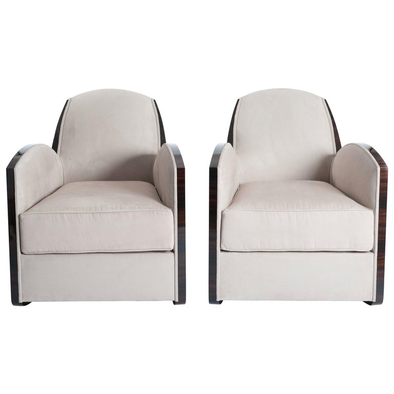 Pair of French Art Deco Macassar Armchairs in the Style of Jules Leleu For Sale