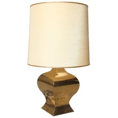 French Table Lamp in Domed Brass Dome Shantung 1970s Gold Color