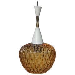 Midcentury Italian Ceiling Lamp Round Glass Yellow Gold Brass Metal Venini