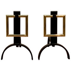 Donald Deskey Style Andirons Brass Buckle Wrought Iron, USA, 1960s