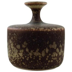 Rolf Palm, Mölle, Unique Ceramic Vase, Speckled Glaze in Brown Shades