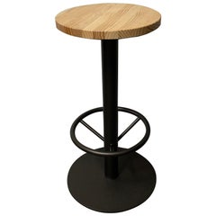New Industrial Wrought Iron Shop Stool with Pine Wood Seat