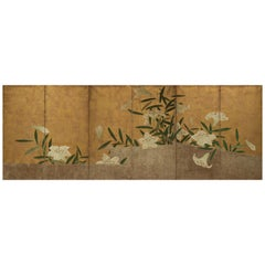 Japanese Six-Panel Folding Screen with Lilies
