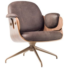 Jaime Hayon, Contemporary, Plywood Walnut Leather Low Lounger Armchair