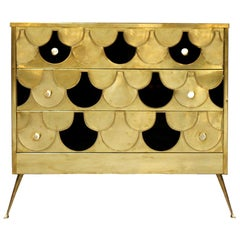 In the Style of Mid-century Modern Solid Wood and Brass Italian Commode