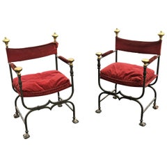 3 Flemish Curule Armchairs in Iron, Brass and Velvet, circa 1900