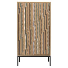 Funquetry Shift Cabinet in oak wood with Middle Easter marquetry patterns