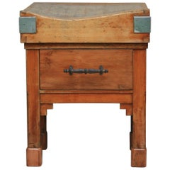 Vintage Small Butcher Block, France, circa 1920