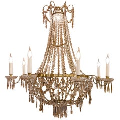 French Empire Style, Gilt Bronze and Baccarat Crystal Chandelier, circa 1890