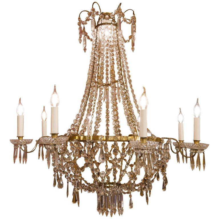 French Empire Style, Gilt Bronze and Baccarat Crystal Chandelier, circa 1890 For Sale