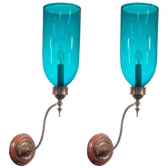 Pair of 19th Century Blue Green Teal Hurricane Shade Wall Sconces