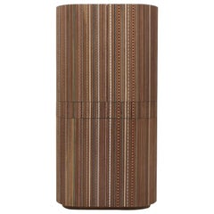 Funquetry Pleated Bar in walnut wood with Middle Easter marquetry patterns