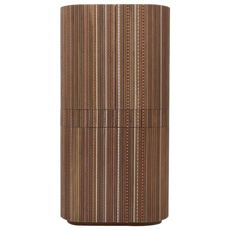 Funquetry Pleated Bar in walnut wood with Middle Easter marquetry patterns For Sale