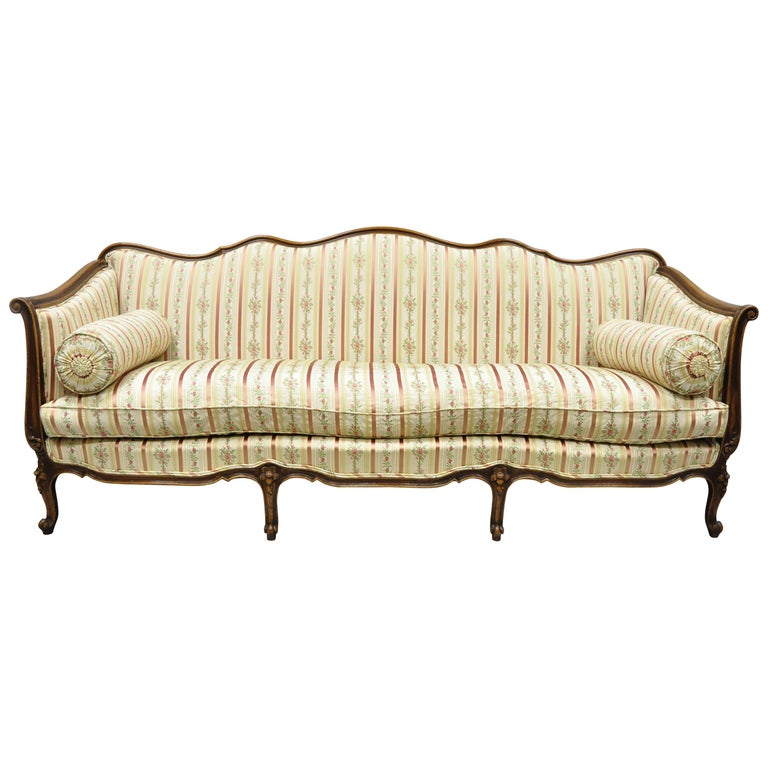 French Louis XV Provincial Style Sofa with Serpentine Carved Back For Sale