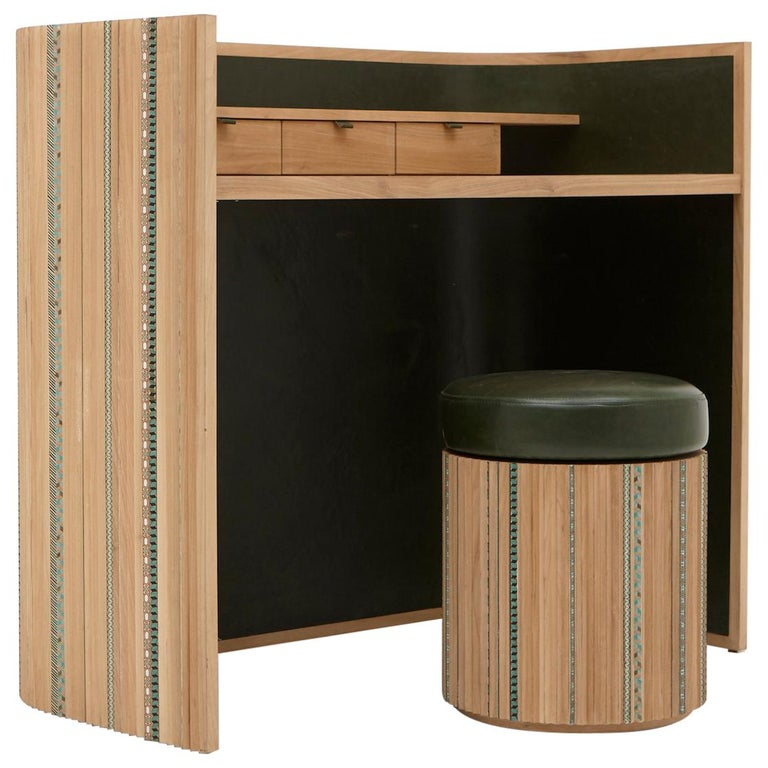 Funquetry Pleated Secretaire in oak wood with Middle Easter marquetry patterns For Sale