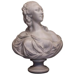 By Sevres Manufacture, Porcelain Biscuit Bust of Countess du Barry, after Pajou