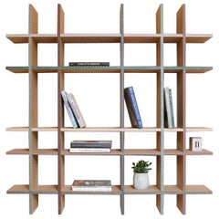 Funquetry Crisscross Shelf in oak wood with Middle Easter marquetry patterns