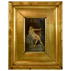 19th Century French Gold Leaf Framed Oil on Linen Painting, Reclining Venus
