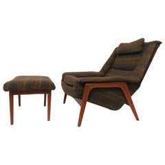 Folke Ohlsson for DUX Lounge Chair with Ottoman, circa 1960s