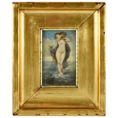 19th Century French Gold Leaf Framed Oil on Linen Painting, Venus in the Sea