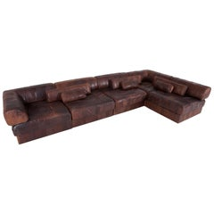 De Sede DS88 Modular Brown-Cognac Leather Patchwork Sofa