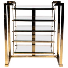 Brass and Glass Shelving Unit in Style of Romeo Rega, Italy, circa 1970