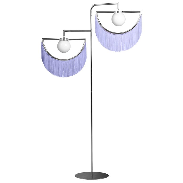 Wink Gold-Plated Floor Lamp Postmodernist Style with Purple Fringes For Sale