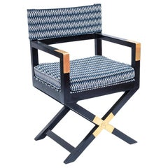 Black Lacquered Pitch-Pine Armchair with X Legs, 1970s